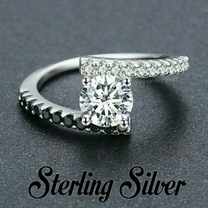 Sterling Silver CZ & Black Spinel Bypass Ring